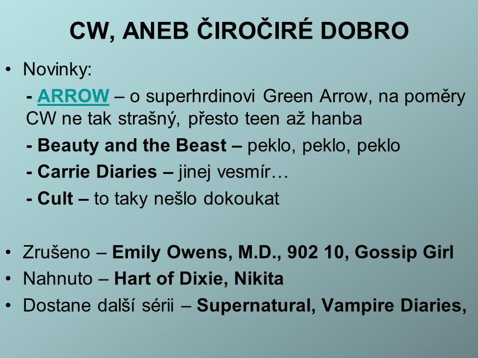 CW, ANEB ČIROČIRÉ DOBRO Novinky: - ARROW – o superhrdinovi Green Arrow, na poměry CW ne tak strašný, přesto teen až hanbaARROW - Beauty and the Beast