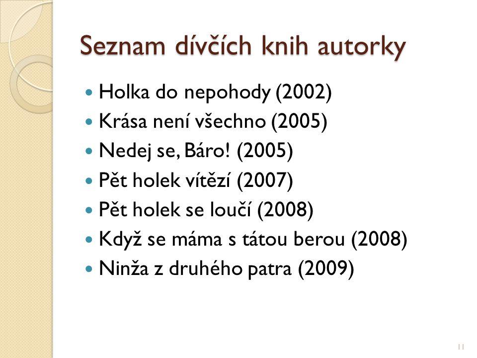 Seznam dívčích knih autorky Holka do nepohody (2002) Krása není všechno (2005) Nedej se, Báro! (2005) Pět holek vítězí (2007) Pět holek se loučí (2008