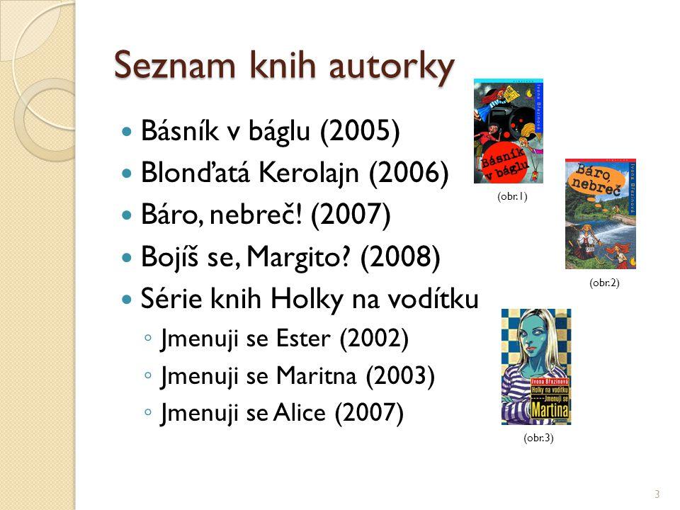 Seznam knih autorky Básník v báglu (2005) Blonďatá Kerolajn (2006) Báro, nebreč! (2007) Bojíš se, Margito? (2008) Série knih Holky na vodítku ◦ Jmenuj