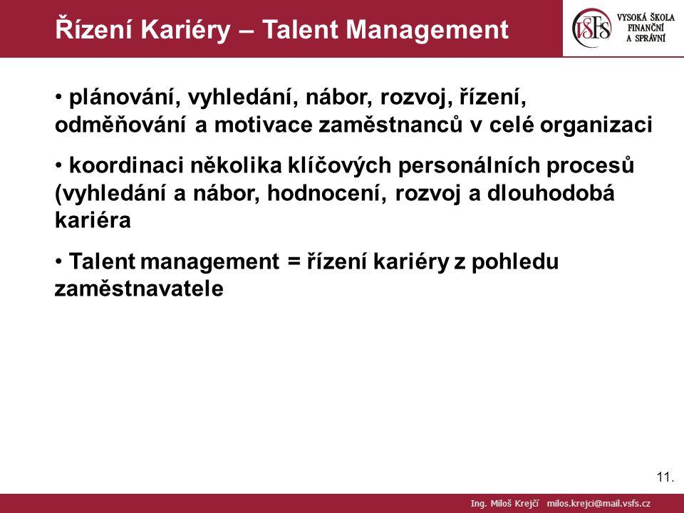 11. Řízení Kariéry – Talent Management Ing. Miloš Krejčí milos.krejci@mail.vsfs.cz plánování, vyhledání, nábor, rozvoj, řízení, odměňování a motivace
