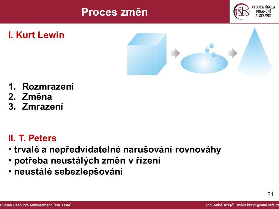 21. Proces změn 1.Rozmrazení 2.Změna 3.Zmrazení I. Kurt Lewin II. T. Peters trvalé a nepředvídatelné narušování rovnováhy potřeba neustálých změn v ří
