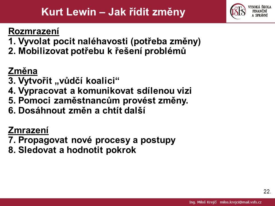 """22. Kurt Lewin – Jak řídit změny Rozmrazení 1. Vyvolat pocit naléhavosti (potřeba změny) 2. Mobilizovat potřebu k řešení problémů Změna 3. Vytvořit """"v"""