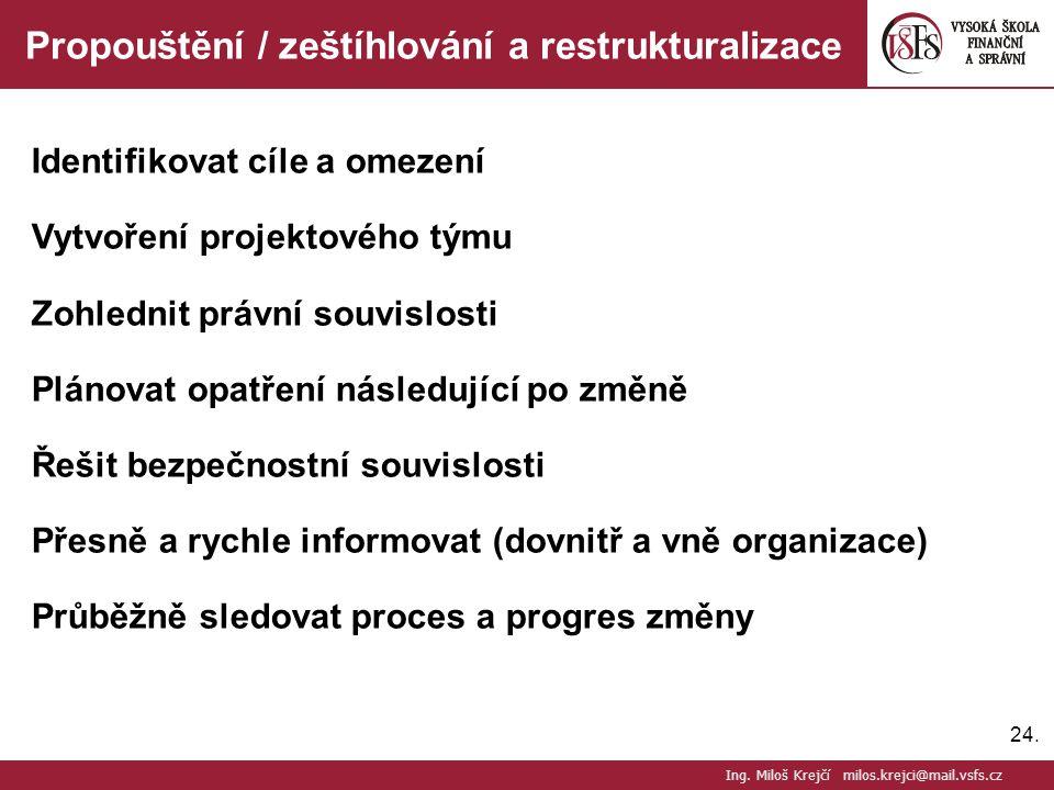 24. Propouštění / zeštíhlování a restrukturalizace Identifikovat cíle a omezení Vytvoření projektového týmu Zohlednit právní souvislosti Plánovat opat