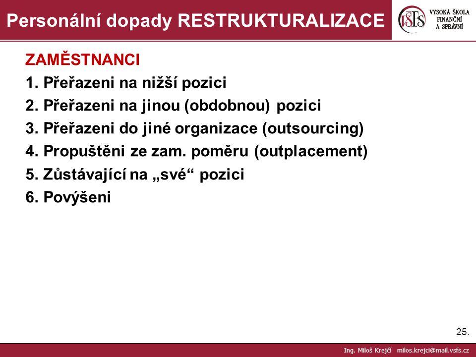 25. Personální dopady RESTRUKTURALIZACE Ing. Miloš Krejčí milos.krejci@mail.vsfs.cz ZAMĚSTNANCI 1.Přeřazeni na nižší pozici 2.Přeřazeni na jinou (obdo