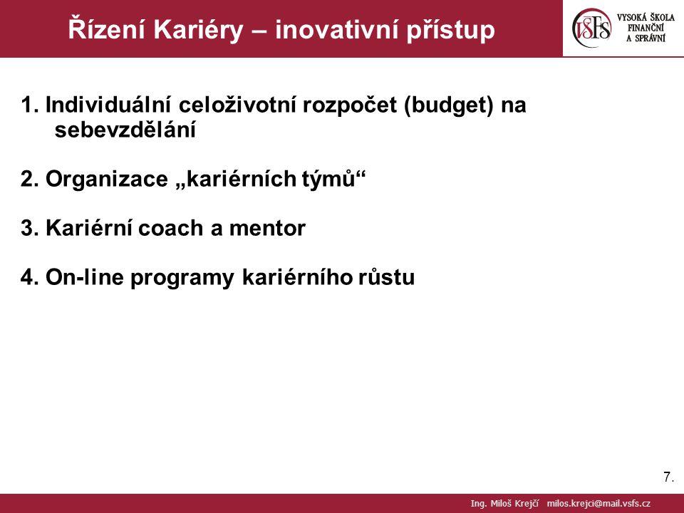 """7.7. Řízení Kariéry – inovativní přístup 1. Individuální celoživotní rozpočet (budget) na sebevzdělání 2. Organizace """"kariérních týmů"""" 3. Kariérní coa"""