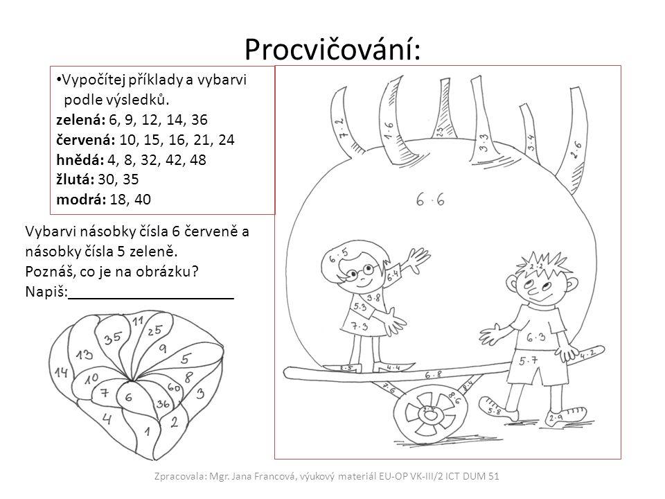 Procvičování: Zpracovala: Mgr. Jana Francová, výukový materiál EU-OP VK-III/2 ICT DUM 51 Vypočítej příklady a vybarvi podle výsledků. zelená: 6, 9, 12