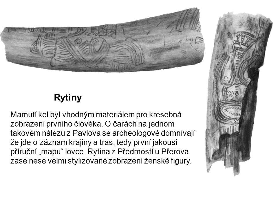Rytiny Mamutí kel byl vhodným materiálem pro kresebná zobrazení prvního člověka. O čarách na jednom takovém nálezu z Pavlova se archeologové domnívají