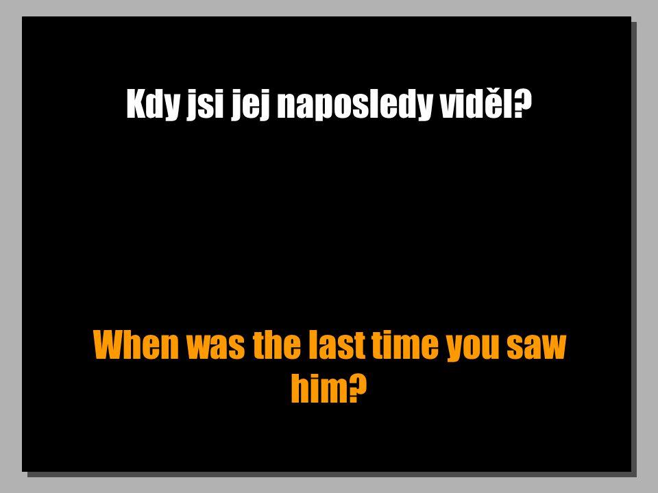 Kdy jsi jej naposledy viděl? When was the last time you saw him?