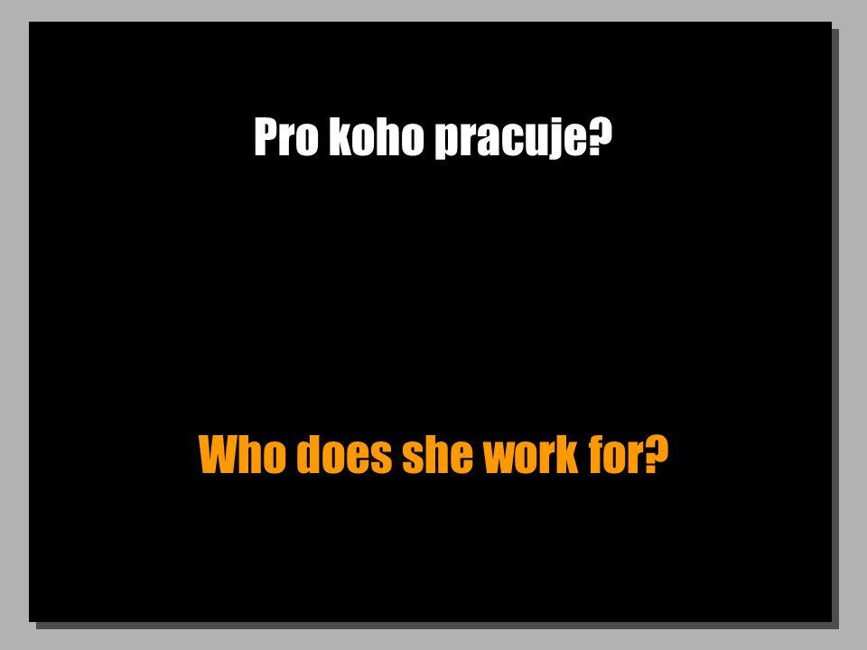 Pro koho pracuje? Who does she work for?