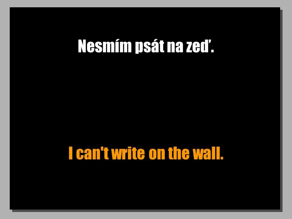 Nesmím psát na zeď. I can't write on the wall.