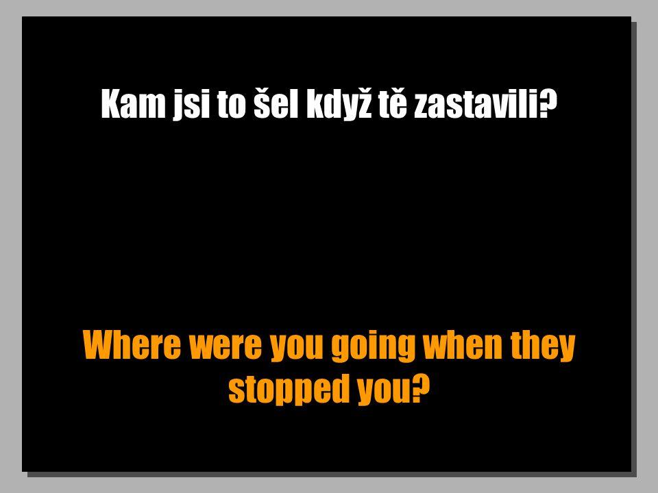 Kam jsi to šel když tě zastavili? Where were you going when they stopped you?