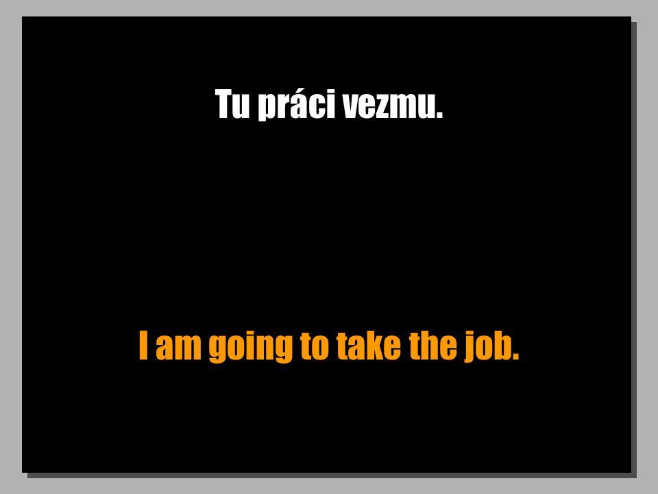 Tu práci vezmu. I am going to take the job.