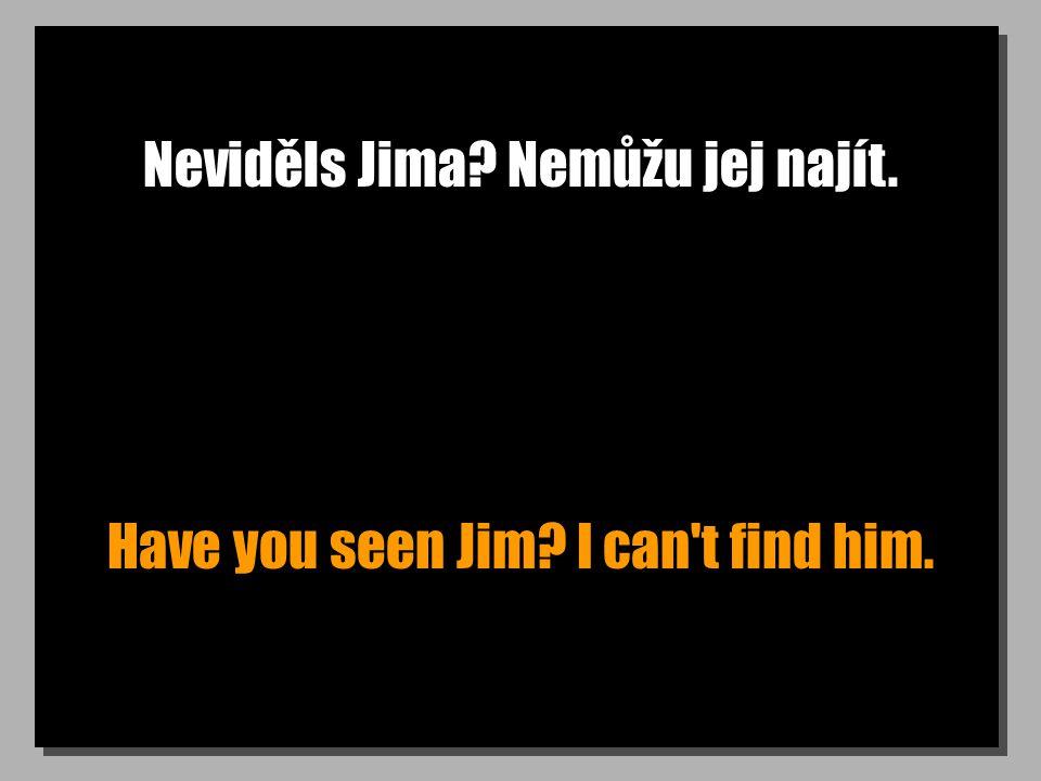 Neviděls Jima? Nemůžu jej najít. Have you seen Jim? I can t find him.