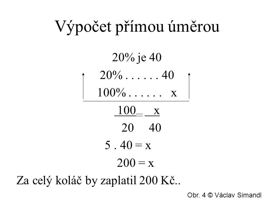Výpočet přímou úměrou 20% je 40 20%...... 40 100%...... x 100 x 20 40 5. 40 = x 200 = x Za celý koláč by zaplatil 200 Kč.. Obr. 4 © Václav Simandl