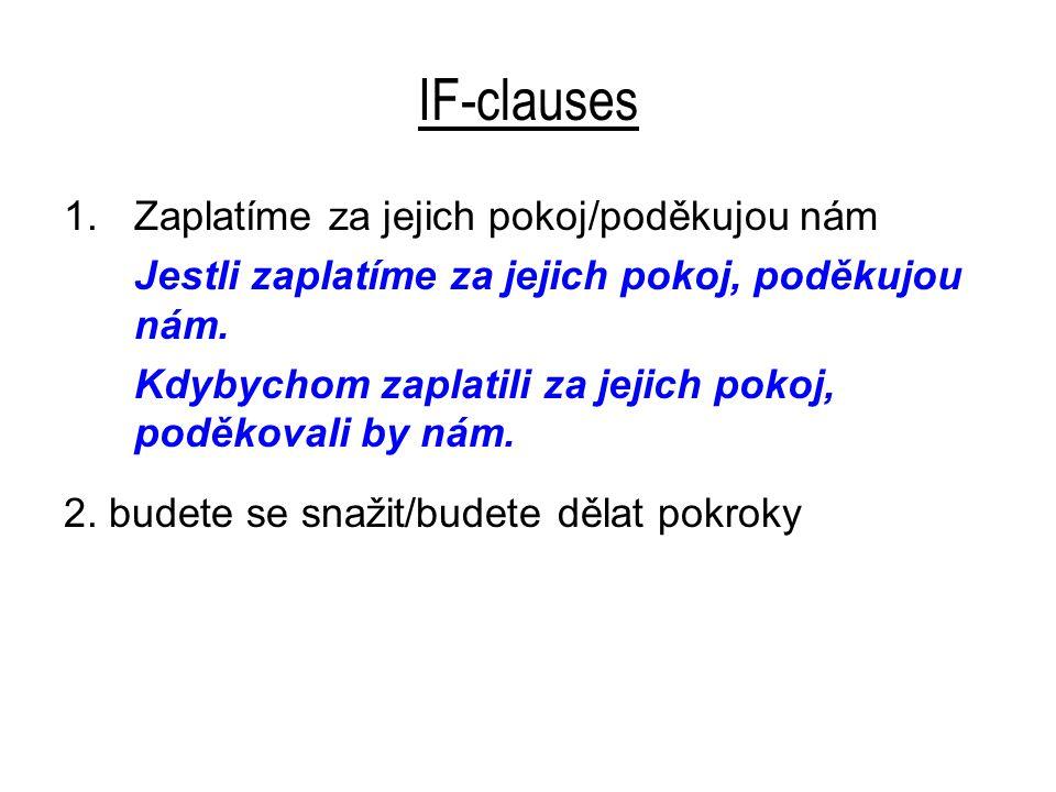 IF-clauses 2.budete se snažit/budete dělat pokroky Jestli se budete snažit, budete dělat pokroky.