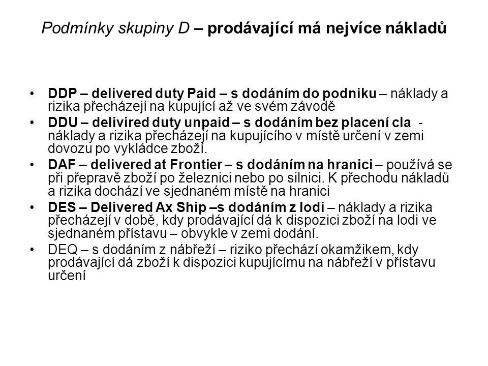 Podmínky skupiny D – prodávající má nejvíce nákladů DDP – delivered duty Paid – s dodáním do podniku – náklady a rizika přecházejí na kupující až ve s