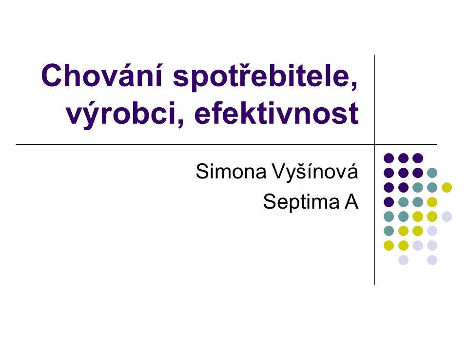 Chování spotřebitele, výrobci, efektivnost Simona Vyšínová Septima A
