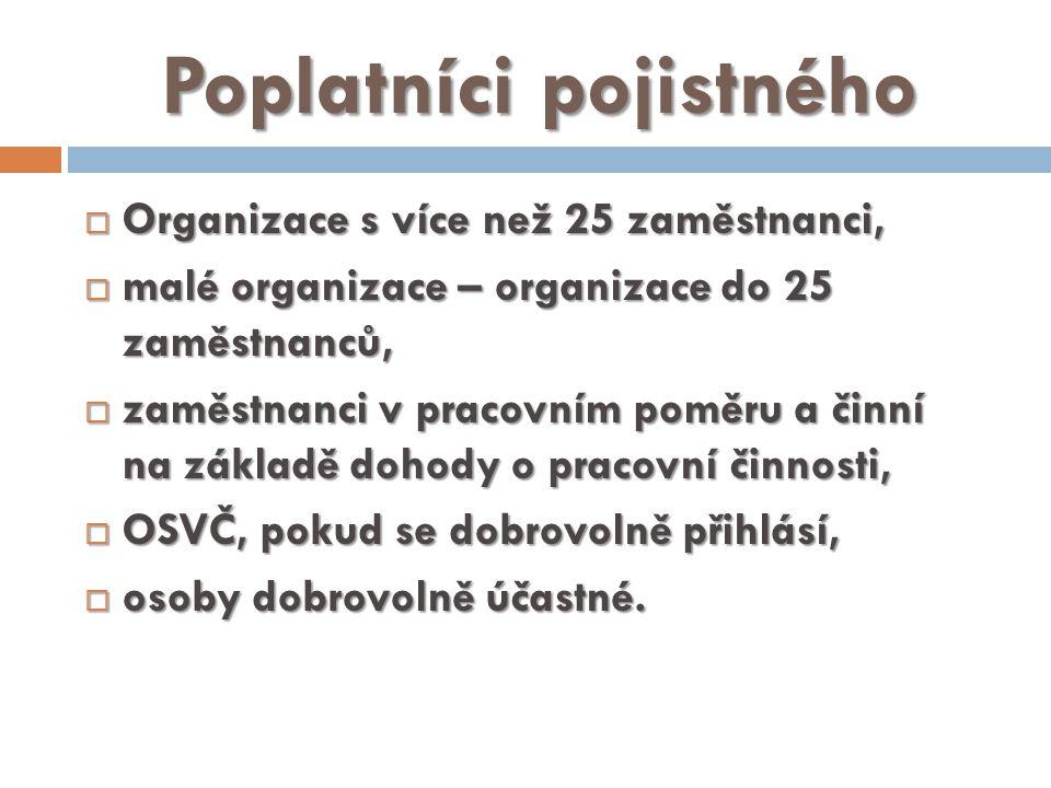 Poplatníci pojistného  Organizace s více než 25 zaměstnanci,  malé organizace – organizace do 25 zaměstnanců,  zaměstnanci v pracovním poměru a činní na základě dohody o pracovní činnosti,  OSVČ, pokud se dobrovolně přihlásí,  osoby dobrovolně účastné.