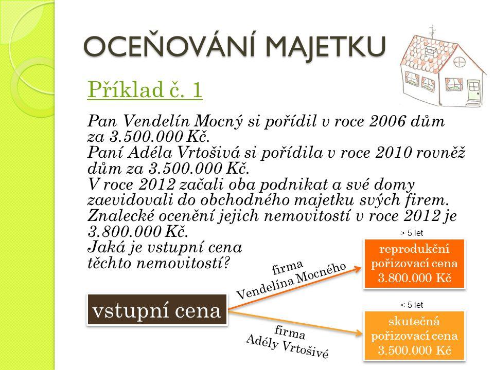 Příklad č. 1 Pan Vendelín Mocný si pořídil v roce 2006 dům za 3.500.000 Kč. Paní Adéla Vrtošivá si pořídila v roce 2010 rovněž dům za 3.500.000 Kč. V