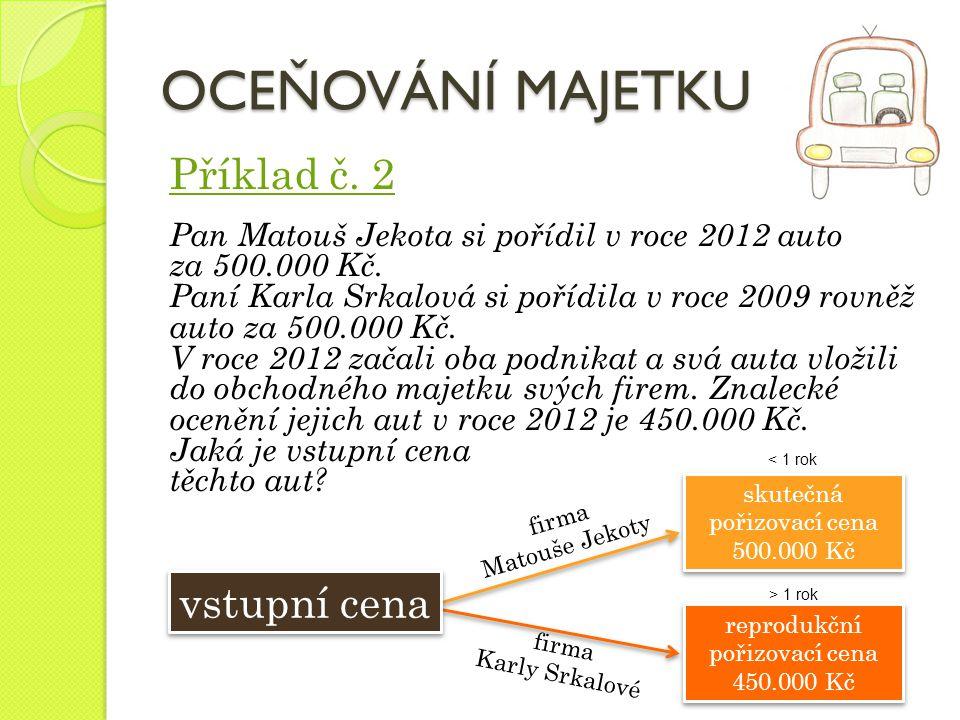 Příklad č. 2 Pan Matouš Jekota si pořídil v roce 2012 auto za 500.000 Kč. Paní Karla Srkalová si pořídila v roce 2009 rovněž auto za 500.000 Kč. V roc