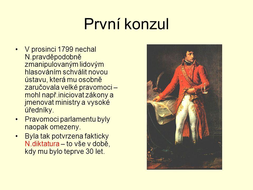 První konzul V prosinci 1799 nechal N.pravděpodobně zmanipulovaným lidovým hlasováním schválit novou ústavu, která mu osobně zaručovala velké pravomoc