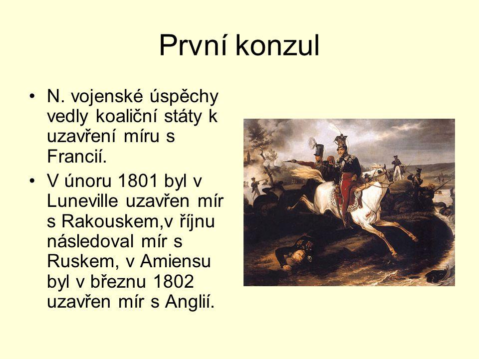 První konzul N. vojenské úspěchy vedly koaliční státy k uzavření míru s Francií. V únoru 1801 byl v Luneville uzavřen mír s Rakouskem,v říjnu následov