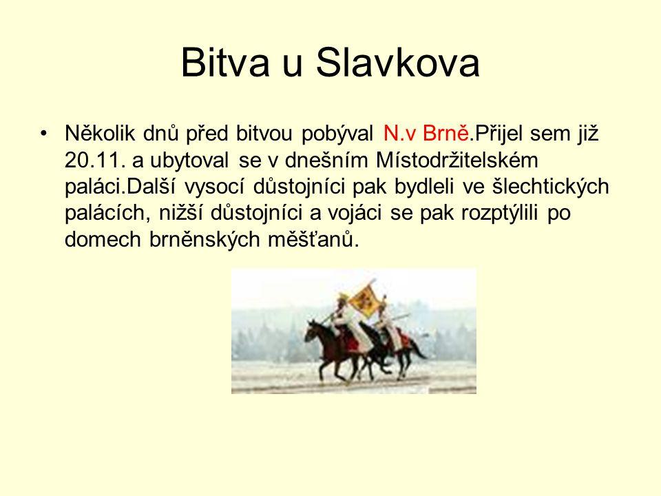 Bitva u Slavkova Několik dnů před bitvou pobýval N.v Brně.Přijel sem již 20.11. a ubytoval se v dnešním Místodržitelském paláci.Další vysocí důstojníc