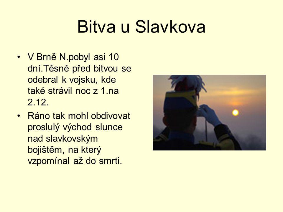 Bitva u Slavkova V Brně N.pobyl asi 10 dní.Těsně před bitvou se odebral k vojsku, kde také strávil noc z 1.na 2.12. Ráno tak mohl obdivovat proslulý v