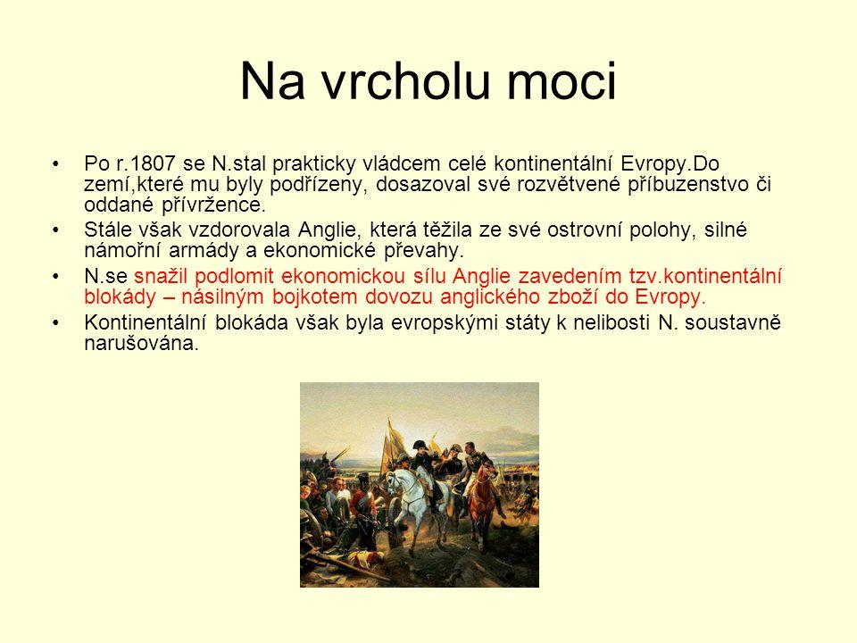 Na vrcholu moci Po r.1807 se N.stal prakticky vládcem celé kontinentální Evropy.Do zemí,které mu byly podřízeny, dosazoval své rozvětvené příbuzenstvo