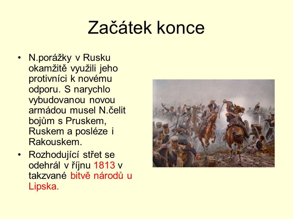 Začátek konce N.porážky v Rusku okamžitě využili jeho protivníci k novému odporu. S narychlo vybudovanou novou armádou musel N.čelit bojům s Pruskem,
