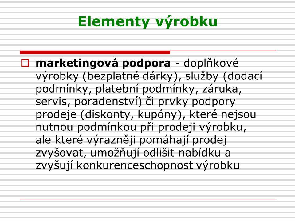 Elementy výrobku  marketingová podpora - doplňkové výrobky (bezplatné dárky), služby (dodací podmínky, platební podmínky, záruka, servis, poradenství
