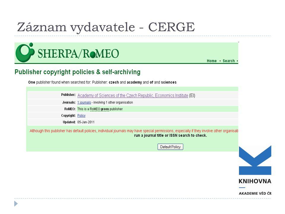 Záznam vydavatele - CERGE