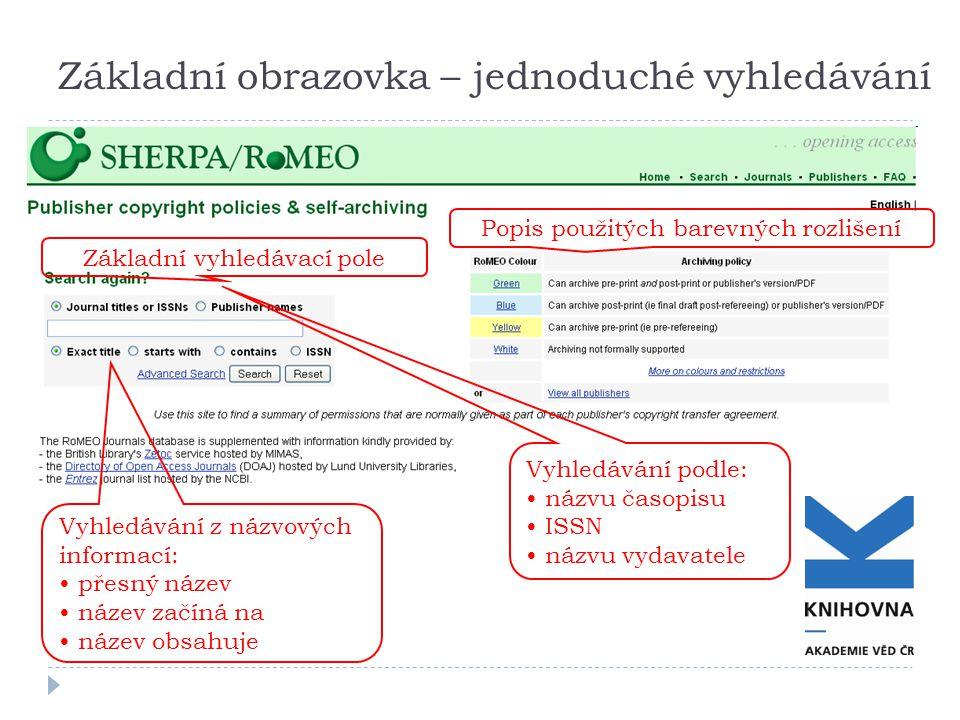 Základní obrazovka – jednoduché vyhledávání Popis použitých barevných rozlišení Základní vyhledávací pole Vyhledávání z názvových informací: přesný název název začíná na název obsahuje Vyhledávání podle: názvu časopisu ISSN názvu vydavatele