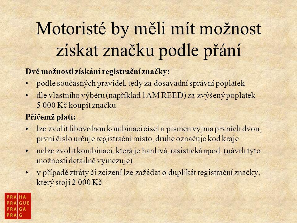 Motoristé by měli mít možnost získat značku podle přání Dvě možnosti získání registrační značky: podle současných pravidel, tedy za dosavadní správní