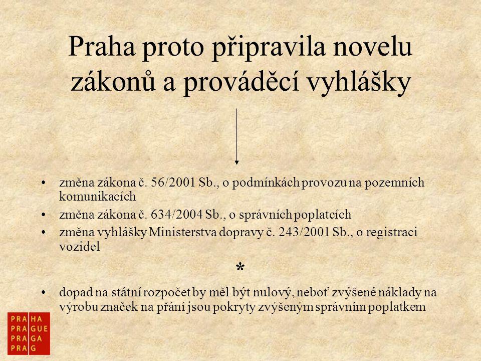Praha proto připravila novelu zákonů a prováděcí vyhlášky změna zákona č. 56/2001 Sb., o podmínkách provozu na pozemních komunikacích změna zákona č.