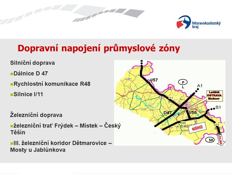 Dopravní napojení průmyslové zóny PLPL SK R48 (E462) I/11 (E75) Silniční doprava Dálnice D 47 Rychlostní komunikace R48 Silnice I/11 Železniční doprav
