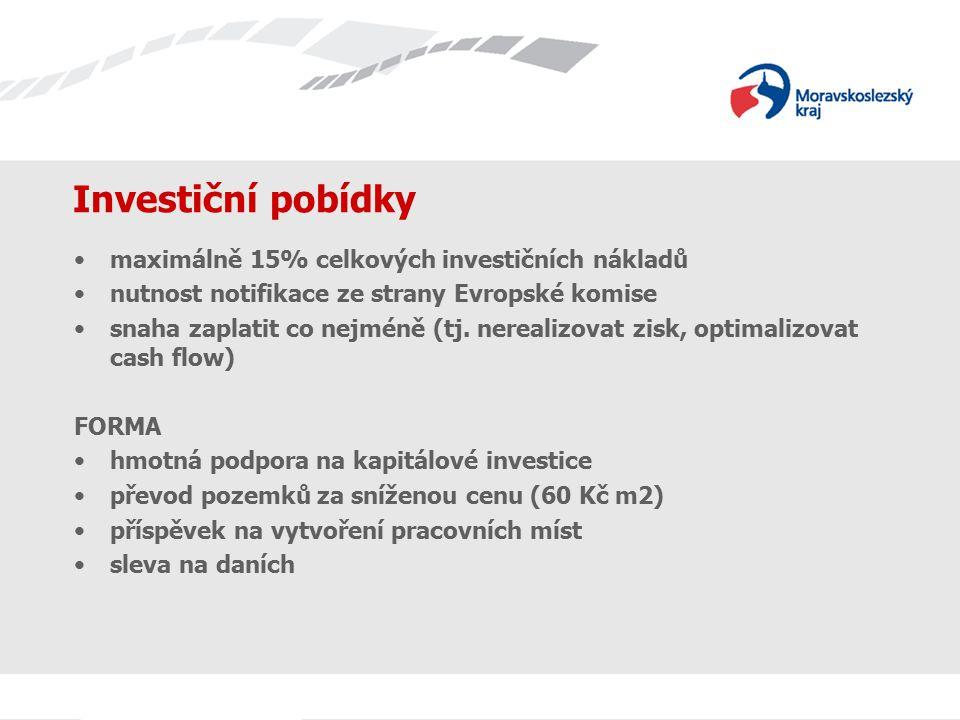 Investiční pobídky maximálně 15% celkových investičních nákladů nutnost notifikace ze strany Evropské komise snaha zaplatit co nejméně (tj. nerealizov