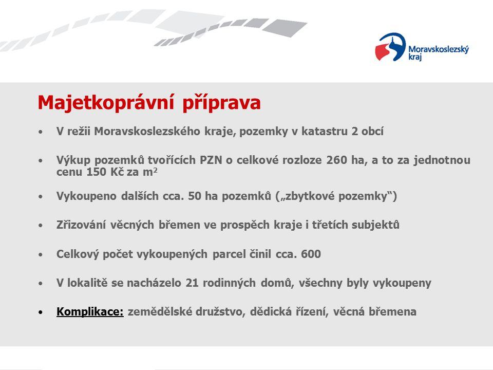 Majetkoprávní příprava V režii Moravskoslezského kraje, pozemky v katastru 2 obcí Výkup pozemků tvořících PZN o celkové rozloze 260 ha, a to za jednotnou cenu 150 Kč za m 2 Vykoupeno dalších cca.