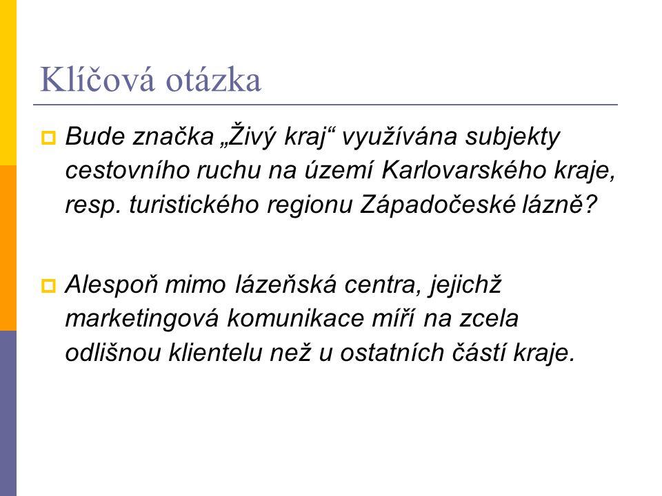 """Klíčová otázka  Bude značka """"Živý kraj využívána subjekty cestovního ruchu na území Karlovarského kraje, resp."""