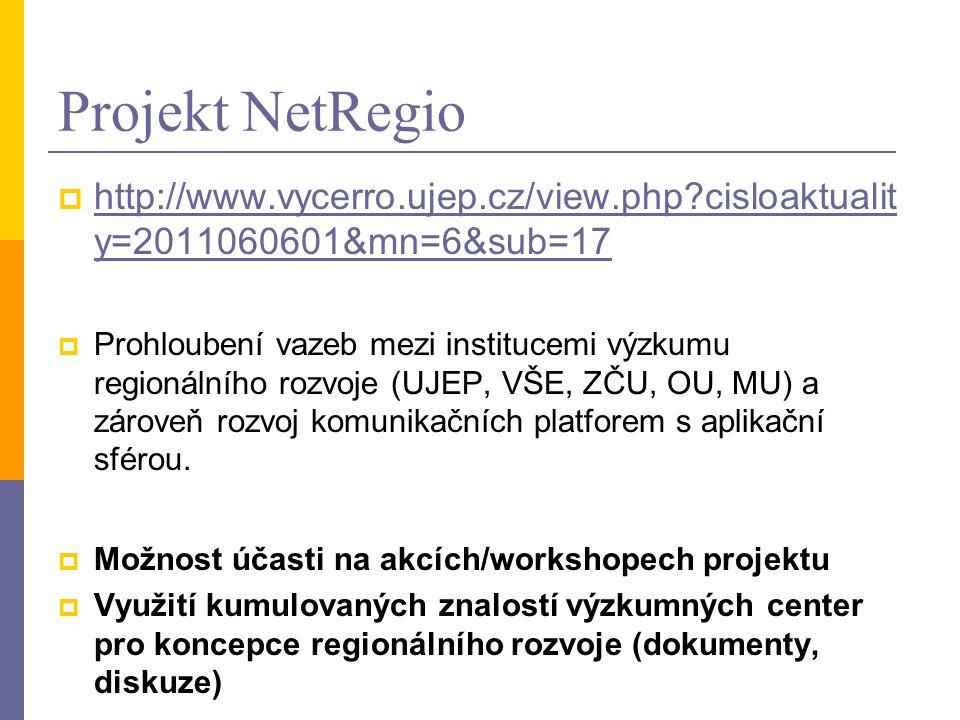 Projekt NetRegio  http://www.vycerro.ujep.cz/view.php cisloaktualit y=2011060601&mn=6&sub=17 http://www.vycerro.ujep.cz/view.php cisloaktualit y=2011060601&mn=6&sub=17  Prohloubení vazeb mezi institucemi výzkumu regionálního rozvoje (UJEP, VŠE, ZČU, OU, MU) a zároveň rozvoj komunikačních platforem s aplikační sférou.