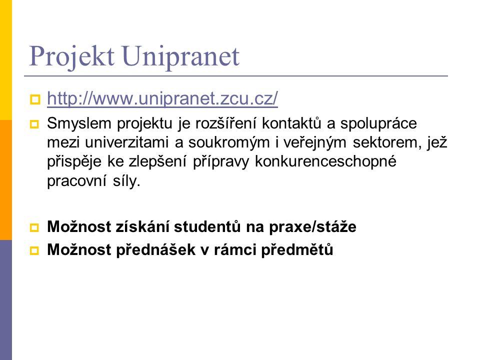 Projekt Unipranet  http://www.unipranet.zcu.cz/ http://www.unipranet.zcu.cz/  Smyslem projektu je rozšíření kontaktů a spolupráce mezi univerzitami a soukromým i veřejným sektorem, jež přispěje ke zlepšení přípravy konkurenceschopné pracovní síly.