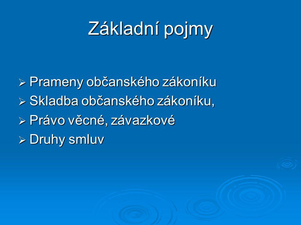  Prameny občanského zákoníku  Skladba občanského zákoníku,  Právo věcné, závazkové  Druhy smluv Základní pojmy