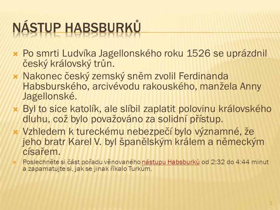  Po smrti Ludvíka Jagellonského roku 1526 se uprázdnil český královský trůn.  Nakonec český zemský sněm zvolil Ferdinanda Habsburského, arcivévodu r