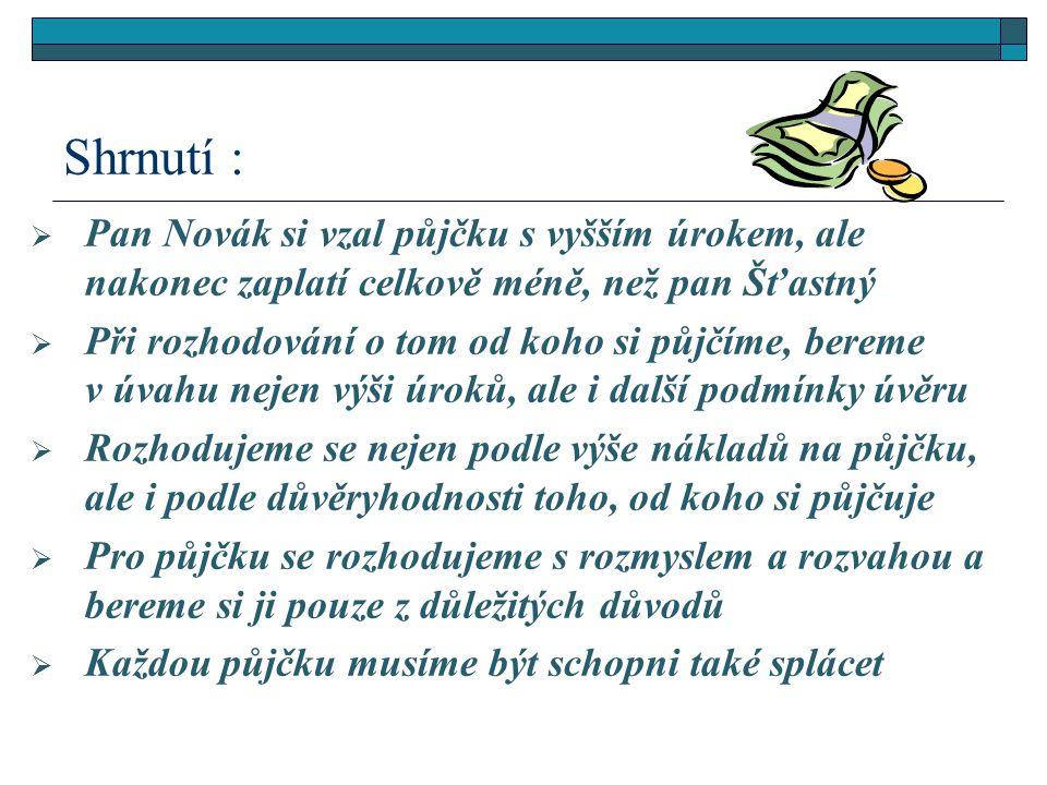  Pan Novák si vzal půjčku s vyšším úrokem, ale nakonec zaplatí celkově méně, než pan Šťastný  Při rozhodování o tom od koho si půjčíme, bereme v úva