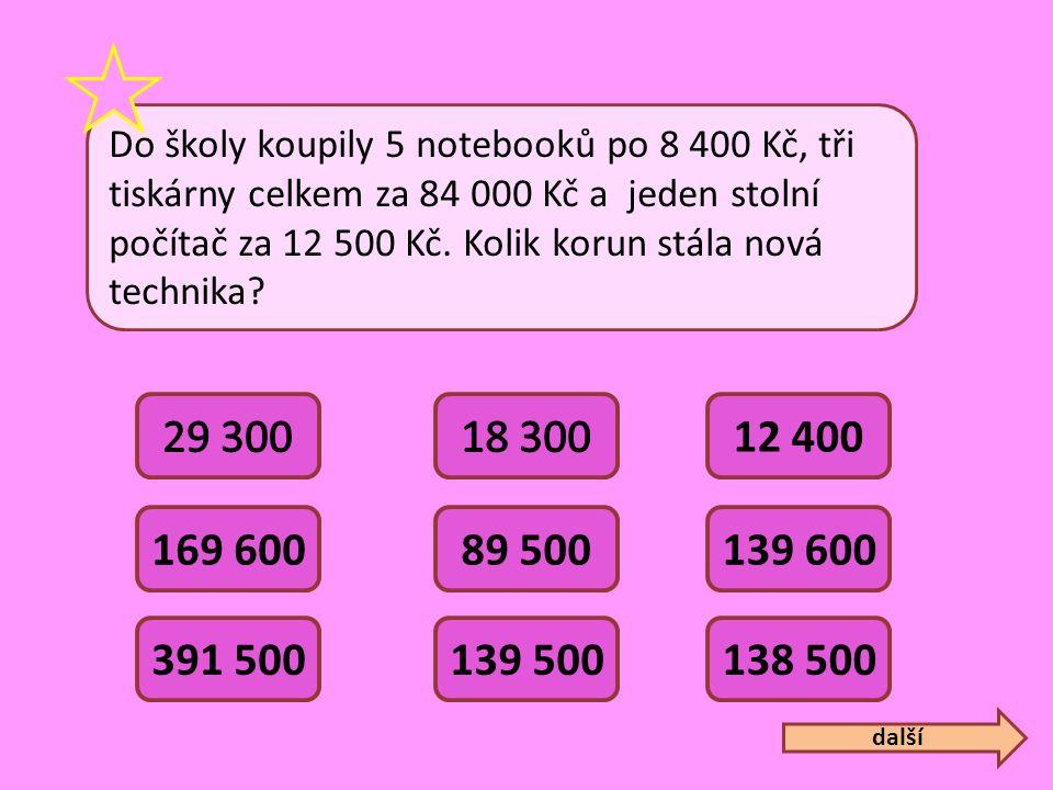 Do školy koupily 5 notebooků po 8 400 Kč, tři tiskárny celkem za 84 000 Kč a jeden stolní počítač za 12 500 Kč. Kolik korun stála nová technika? 12 40