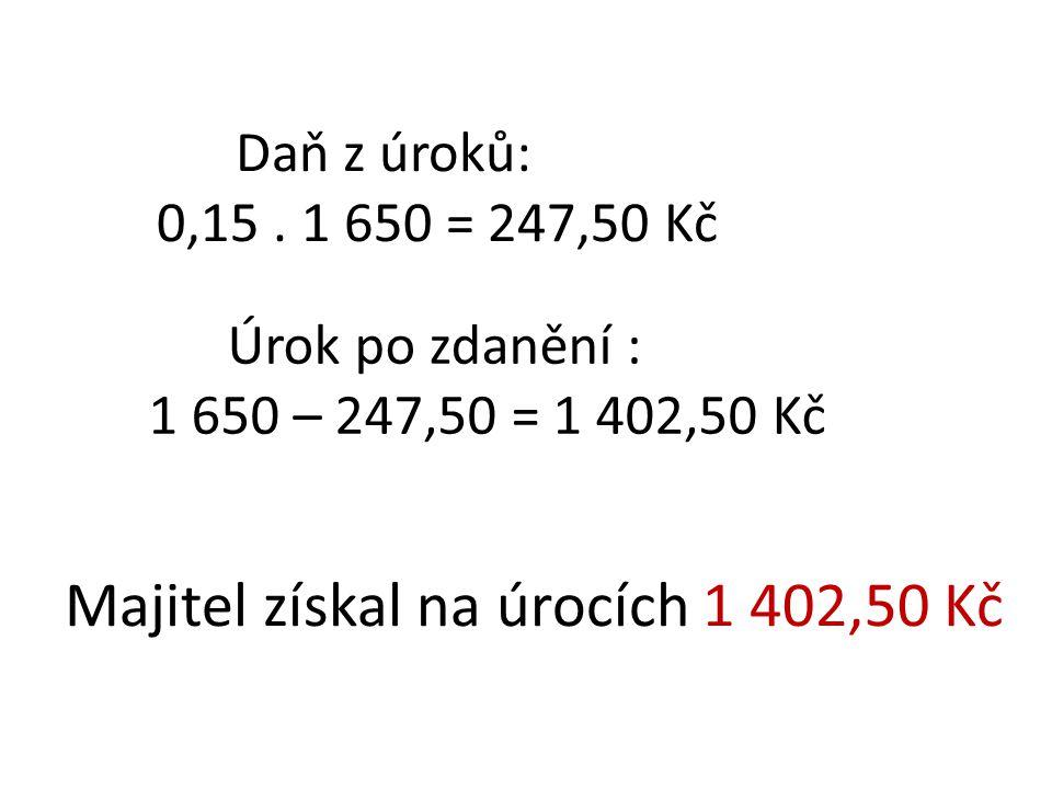 Daň z úroků: 0,15. 1 650 = 247,50 Kč Úrok po zdanění : 1 650 – 247,50 = 1 402,50 Kč Majitel získal na úrocích 1 402,50 Kč