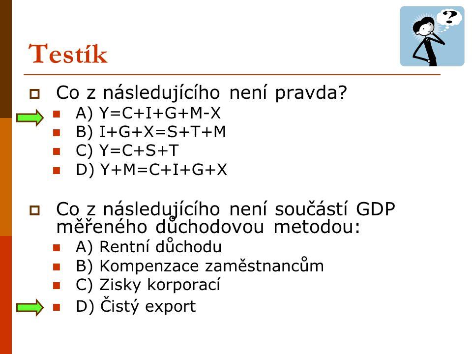 Testík  Pokud rok 2006 je rokem základním pro deflátor GDP, víme, že: A) Nominální GDP = reálný GDP v roce 2006 B) Nominální GDP je větší než reálný GDP v r.