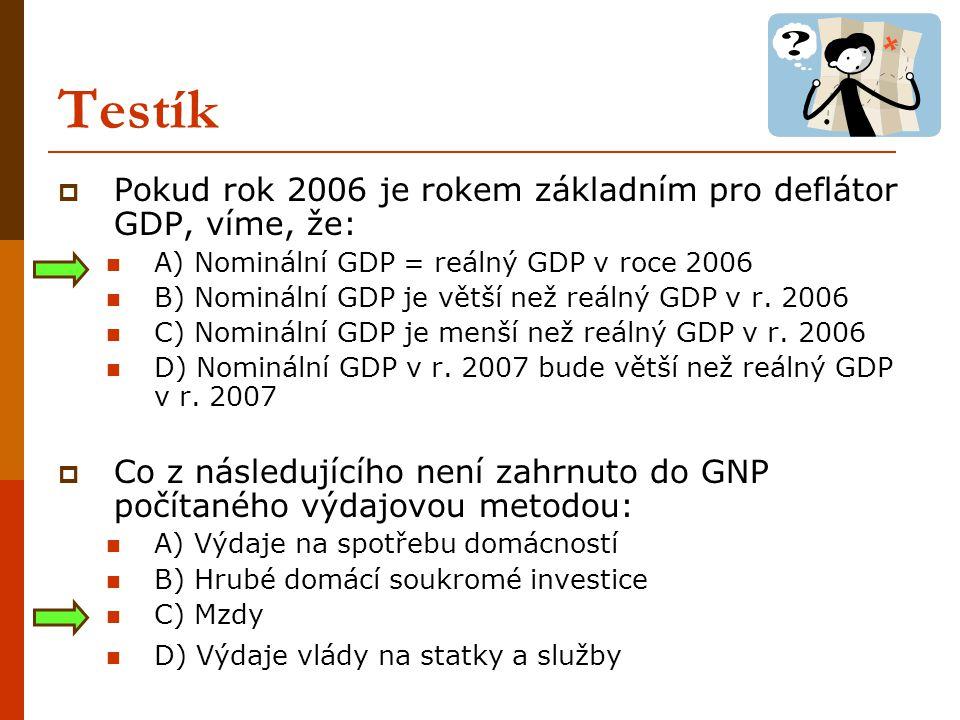 Příklady  Daná ekonomika je charakterizována následujícími údaji: Čistý export: -180 mil.