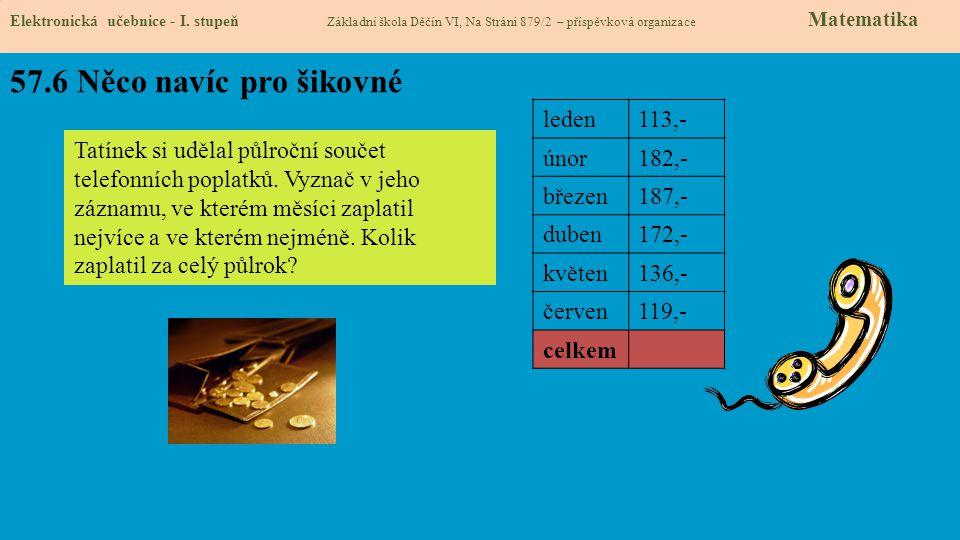 57.6 Něco navíc pro šikovné Elektronická učebnice - I. stupeň Základní škola Děčín VI, Na Stráni 879/2 – příspěvková organizace Matematika Tatínek si