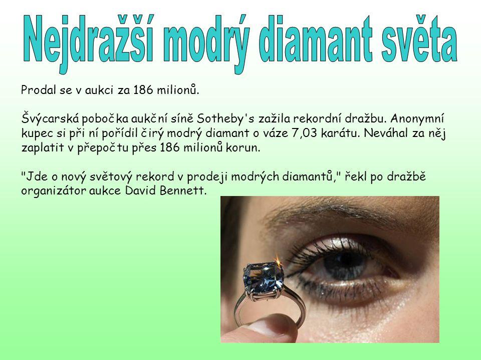 Prodal se v aukci za 186 milionů. Švýcarská pobočka aukční síně Sotheby's zažila rekordní dražbu. Anonymní kupec si při ní pořídil čirý modrý diamant